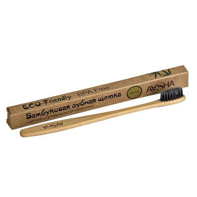 Бамбуковая зубная щетка Aasha с угольной щетиной, мягкая - Фото 1