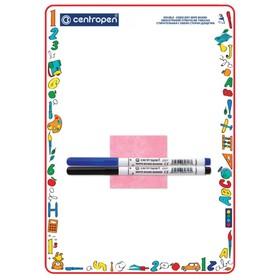 Доска маркерная, A4, двухсторонняя Centropen 7769: без рисунка/клетка и линейка, с маркером Ош