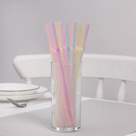 Трубочки одноразовые для коктейлей неоновые Komfi, 5×21см, с гофрой, 100 шт/уп