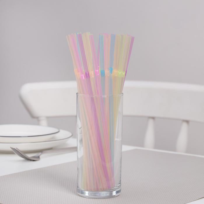 Трубочки для коктейлей неоновые Komfi, 5×21см, с гофрой, 100 шт/уп