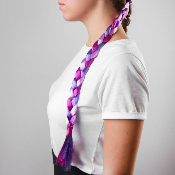 Коса на резинке, 42 см, цвет фиолетовый