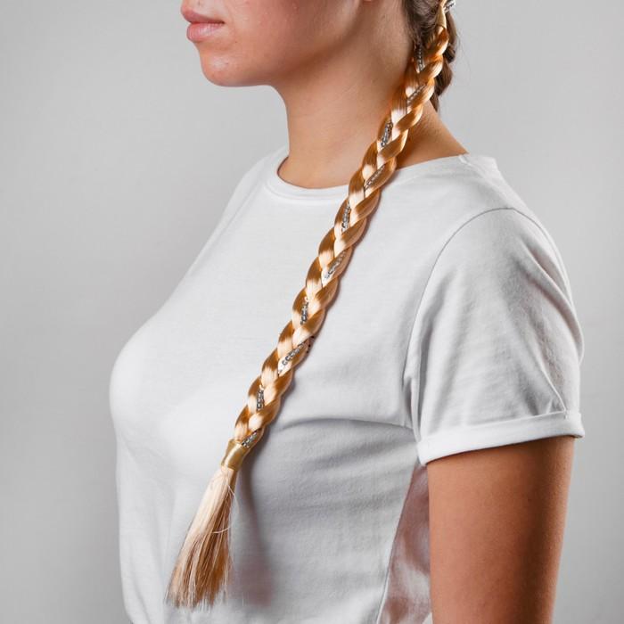 Коса на резинке, 42 см, цвет русый