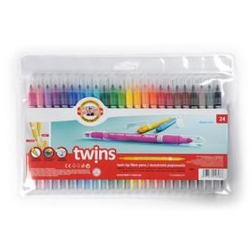 Фломастеры 24 цвета Koh-I-Noor 1023/24 TWINS, двусторонние