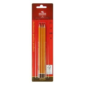 Набор карандашей чернографитных разной твердости 3 штуки Koh-i-Noor 1580 ART, B, H, HB, в блистере