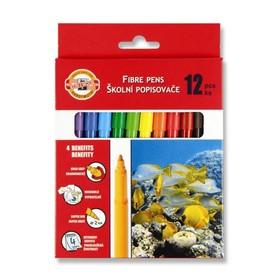 """Фломастеры 12 цветов Koh-I-Noor 7710/12 """"Рыбки"""", смываемые, трёхгранные, картонная упаковка, европодвес"""