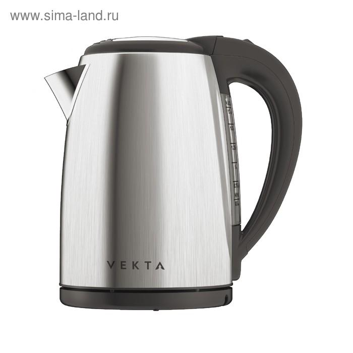 Чайник электрический VEKTA KMS-1702, 2200 Вт, 1.7 л, металл, серебристый