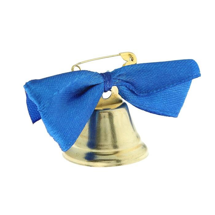 Колокольчик Звоночек, атласный бант , синий