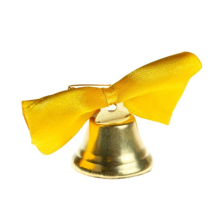 Колокольчик Звоночек, атласный бант , золотой