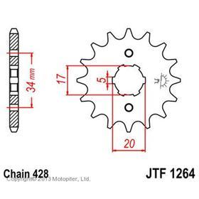 Звезда передняя, ведущая, JTF1264 для мотоцикла, стальная Ош