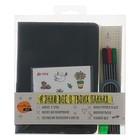 Набор с блокнотом А5, 96 листов LeonВergo Time, чёрный (набор: 3 капиллярные ручки, наклейки, клейкая лента, текстовыделитель)