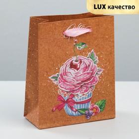 Пакет крафтовый вертикальный «Сладкий сюрприз», 12 × 15 × 5,5 см Ош