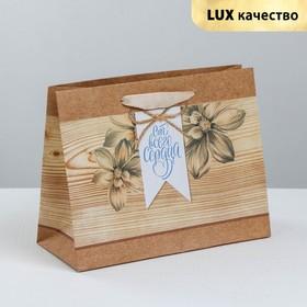 Пакет крафтовый горизонтальный «Сердечная теплота», MS 23 × 18 × 10 см Ош