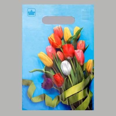 """Пакет """"Тюльпаны"""", полиэтиленовый с вырубной ручкой, 20 х 30 см, 30 мкм"""