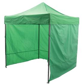 Палатка торговая 3*3 м, каркас складной чёрный, с молнией, цвет зелёный Ош
