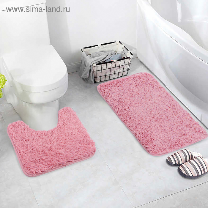 Набор ковриков для ванны и туалета «Пушистик», 2 шт: 38×40, 40×60 см, цвет розовый