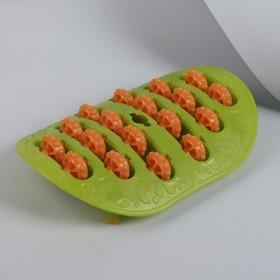 Массажёр для ног, с шипами, цвет зелёный/оранжевый