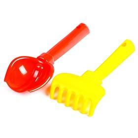 Набор для песочницы, совок, грабельки, для детей, цвета МИКС