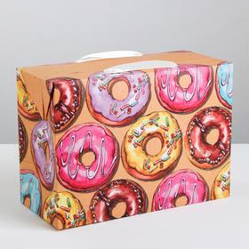 Пакет—коробка «Пончики», 28 × 20 × 13 см Ош