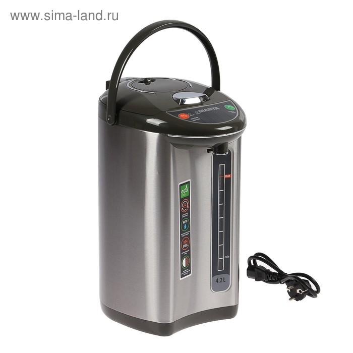 Термопот MARTA MT-1998, 750 Вт, 4.2 л, серебристо-чёрный