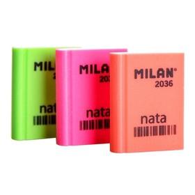 Ластик MILAN Nata 2036, пластиковый, прямоугольный, картонный держатель, 39х29х9 мм, МИКС