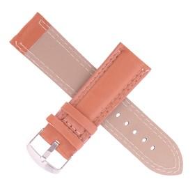 Ремешок для часов, 24мм, экокожа, коричневый, гладкий, 20см