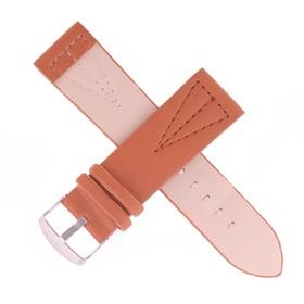 Ремешок для часов, 24мм, экокожа, треугольная прошивка, коричневый, гладкий, 20см Ош