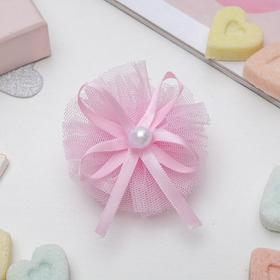 Зажим для волос 'Балерина' бантик с бусиной, розовый Ош