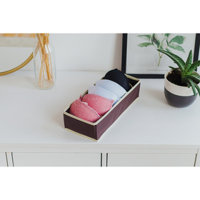 Органайзер для белья «Ваниль», 6 ячеек, 35×16×10 см, цвет коричневоо-бежевый Ош