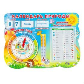 Стенд 'Календарь природы' с карточками чисел, дней недели, месяцев, А1 Ош