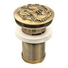 """Донный клапан с переливом Bronze de Luxe 21984, """"Дракон"""", клик-клак, для раковины, латунь"""