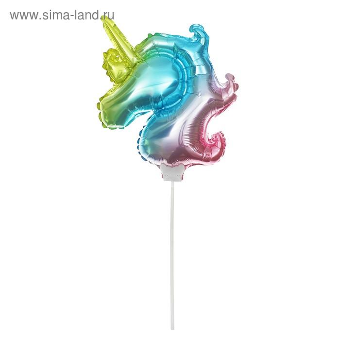 """Шар фольгированный 12"""" """"Единорог"""", с палочкой, разноцветный"""