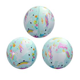 """Шар фольгированный 20"""" 3D Сфера «С днём рождения!», единорог, цвет голубой"""