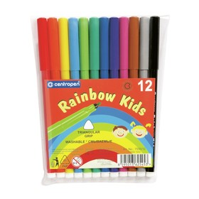 Фломастеры 12 цветов, Centropen Rainbow Kids 7550/12, пластиковая упаковка