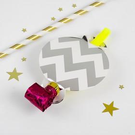 Карнавальный язычок «Узор», набор 6 шт., цвет серебряный Ош