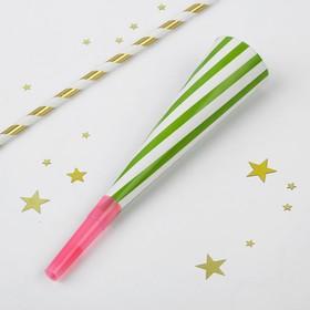 Дудка-гудок «Полоски», набор 6 штук, цвет зелёный Ош