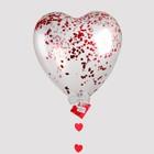 """Воздушный шар """"Сердце"""", 24"""", с конфетти, гирлянда, открытка, красный"""