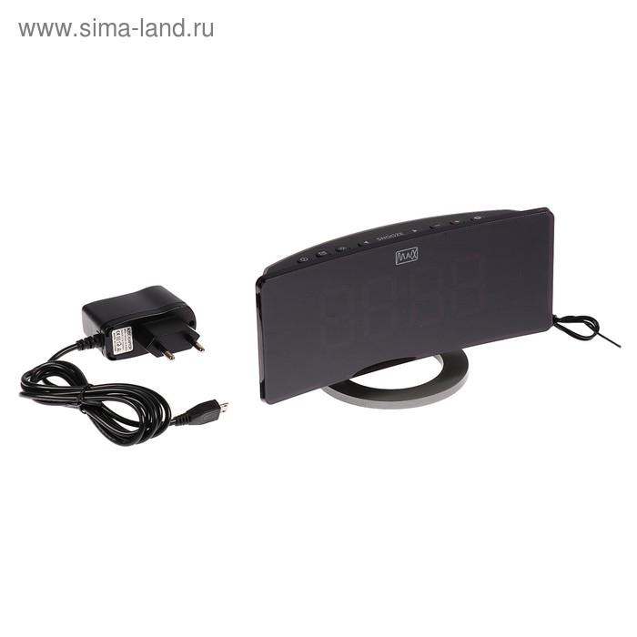 """Часы радиобудильник MAX CR-2914, FM, четыре будильника, дисплей 1.9"""", черные"""