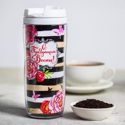 Чай чёрный в термостакане «С Праздником Весны», 20 г, 350 мл - Фото 1