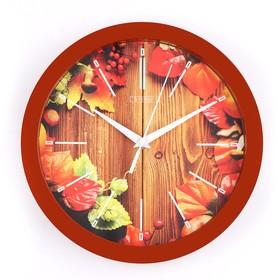 Часы настенные, серия: Природа, 'Осенний гербарий', 28х28 см Ош
