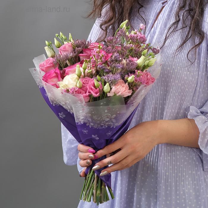 """Пленка матовая """"Цветы"""", фиолетовый, 0,58 х 10 м"""