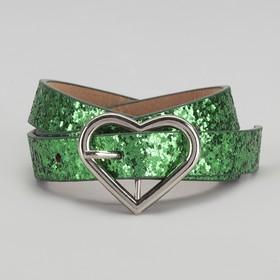 Ремень детский, пряжка металл, ширина - 2 см, цвет зелёный Ош