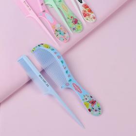 Набор расчёсок, 2 предмета: с ручкой, с хвостиком, цвет и рисунок МИКС Ош