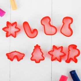 Формочки для лепки, набор 8 шт., цвета МИКС, формочки: 4×4 см, 4×3 см