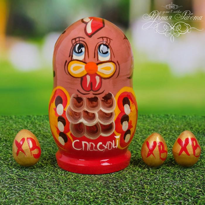 Пасхальная матрёшка Курочка с яйцами
