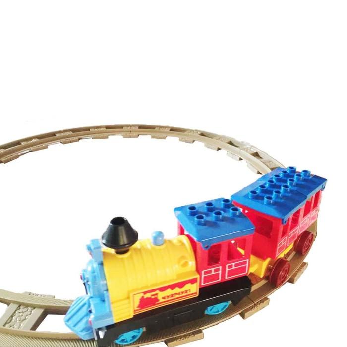 Железная дорога - конструктор «Автоматический паровозик» со светозвуковыми эффектами, в пакете