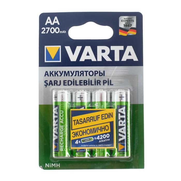 Аккумулятор Varta, Ni-Mh, AA, HR6-4BL, 1.2В, 2700 мАч, блистер, 4 шт.