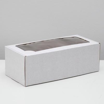 Коробка самосборная, с окном, белая, 16 х 35 х 12 см - Фото 1