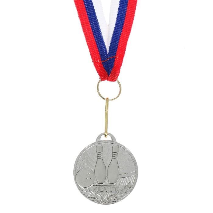 Медаль призовая, 2 место, серебро, d=3,5 см