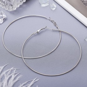 Серьги кольца 'Классика' d=8 см, цвет серебро Ош