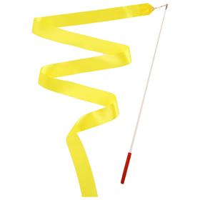 Лента гимнастическая с палочкой, 6 м, цвет желтый